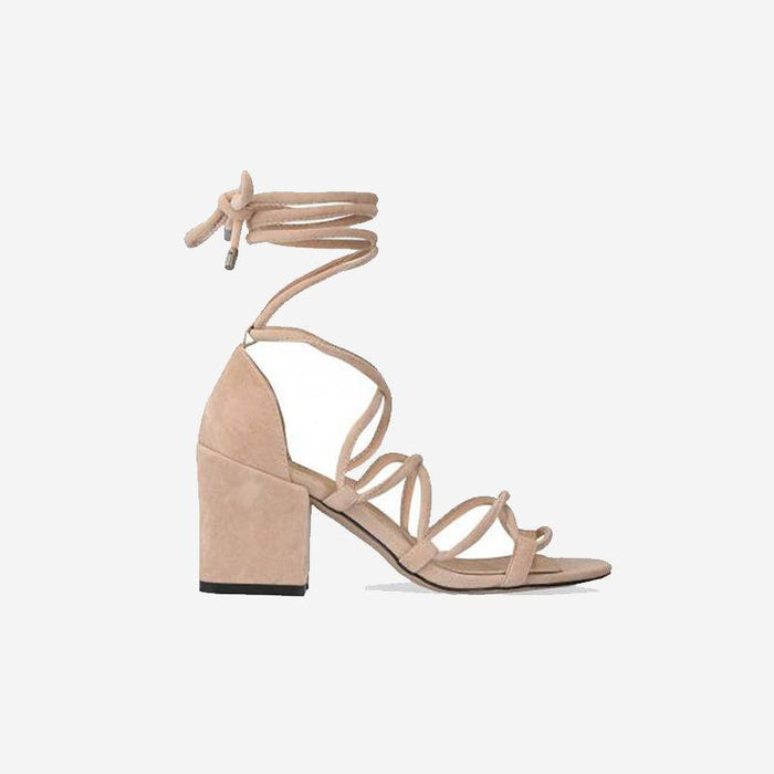 IRIS NUDE LACE LOW BLOCK HEELS