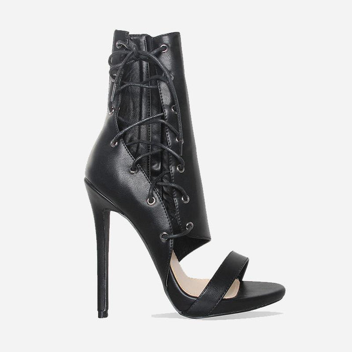 LAMELLÉ FAUX LEATHER BLACK LACE UP HEELS - Abuze shoes