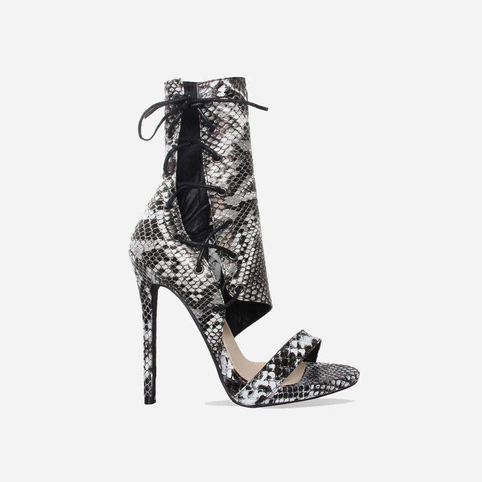LAMELLÉ FAUX SNAKE GREY LACE UP HEELS - Abuze shoes