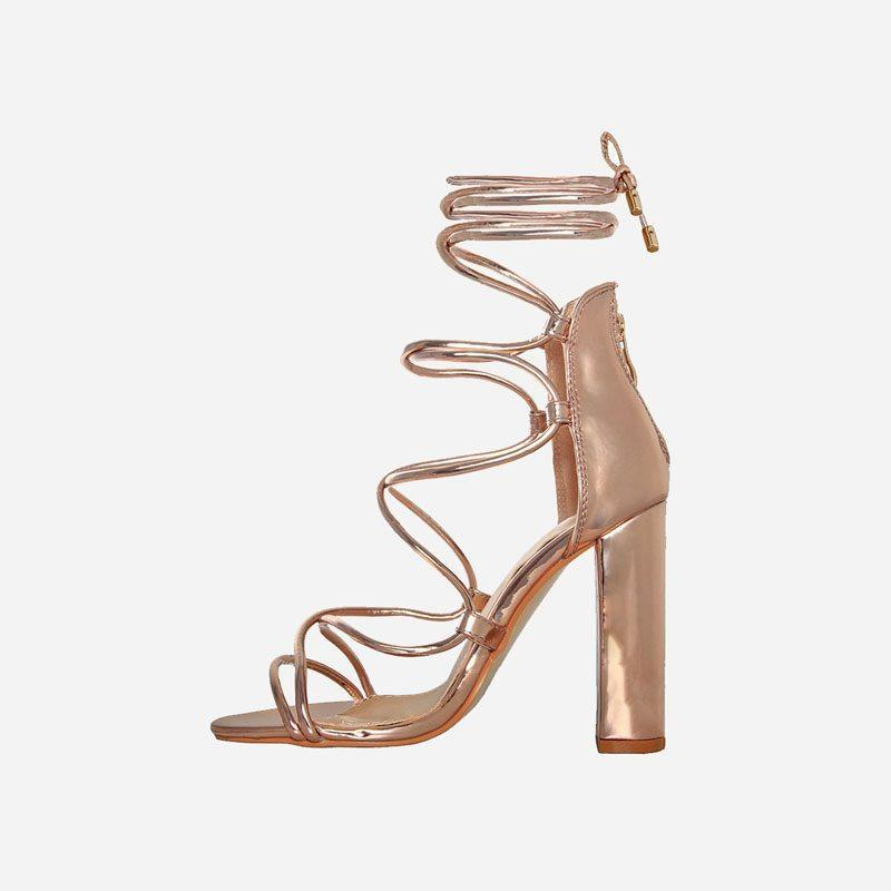 LORETTA ROSE GOLD LACE BLOCK HEELS - Abuze shoes