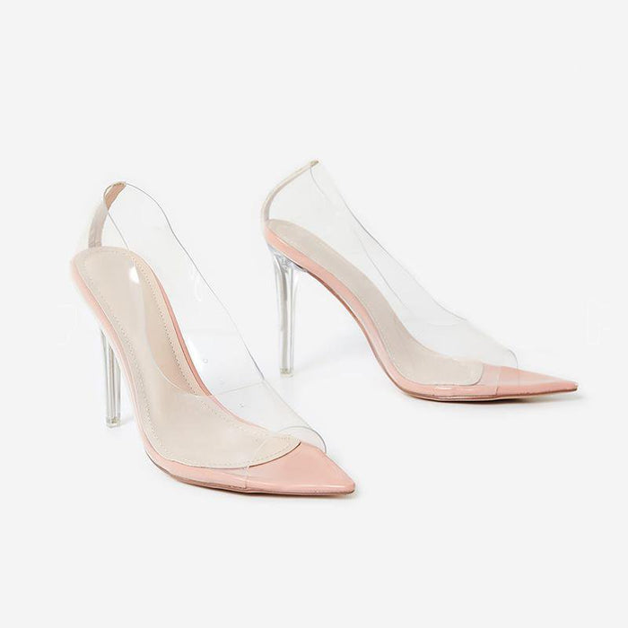 MONIQUE PERSPEX ROSE PINK COURT HEELS