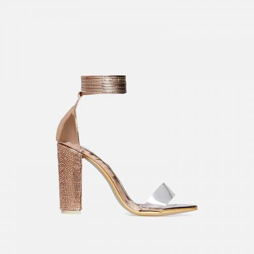 MONROE ROSE GOLD BLOCK LACE UP HEELS - Abuze shoes