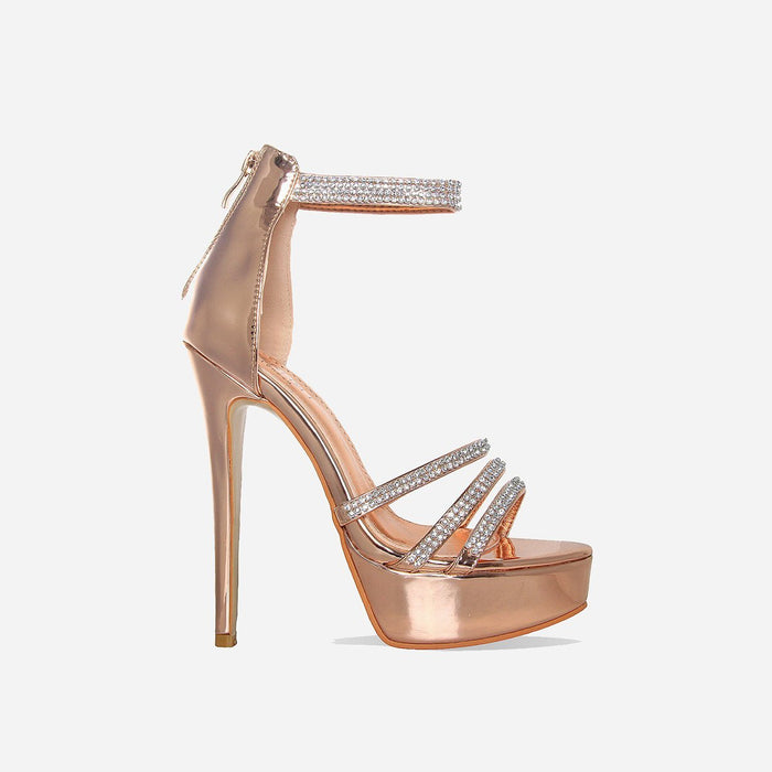 OCEANÉ ROSE GOLD PLATFORM HEELS - Abuze shoes