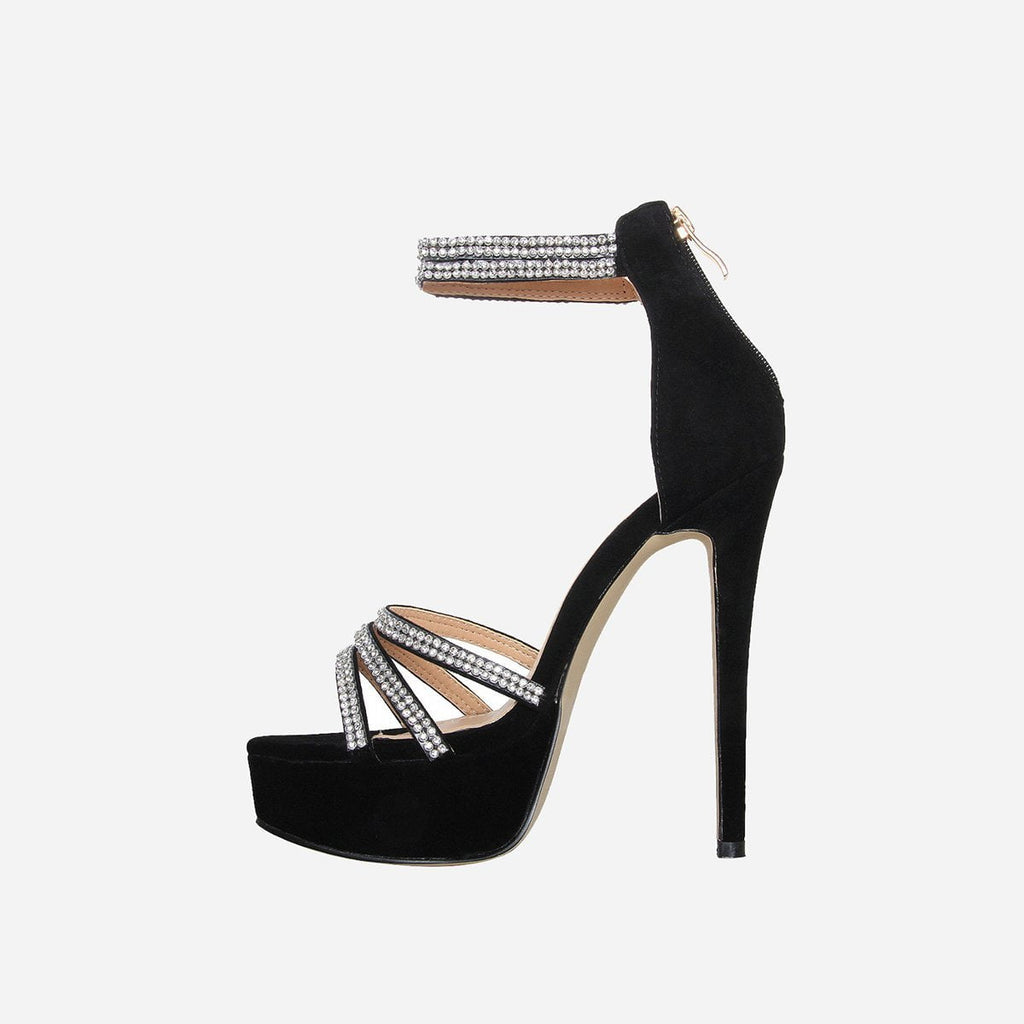 OCEANÉ EBONY BLACK PLATFORM HEELS - Abuze shoes