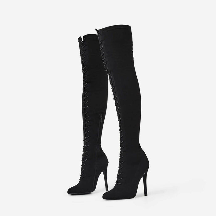 RIHANNA JAGUAR BLACK SUEDE LACE UP THIGH HIGH BOOTS - Abuze shoes