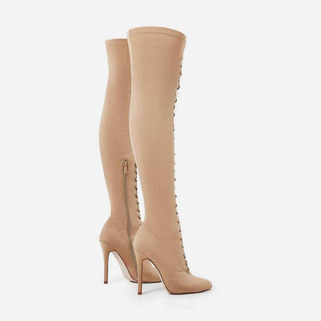 RIHANNA NUDE SUEDE LACE UP THIGH HIGH BOOTS - Abuze shoes