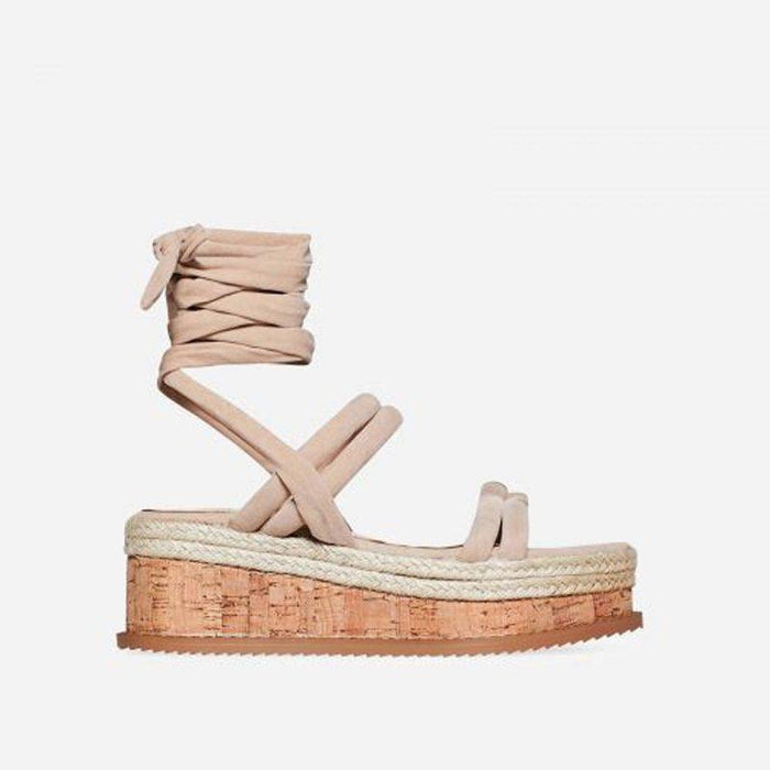 ROSETTE NUDE SUEDE LACE UP FLATFORMS - Abuze shoes