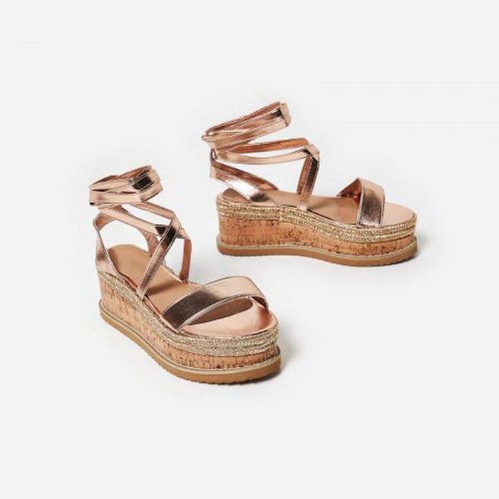 ROSETTE ROSE GOLD LACE UP FLATFORMS - Abuze shoes