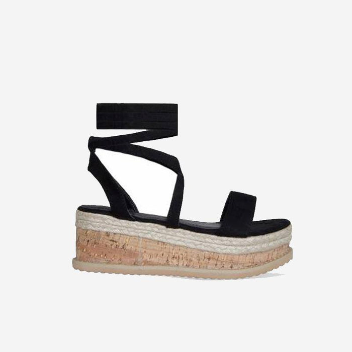 ROSETTE BLACK SUEDE LACE UP FLATFORMS