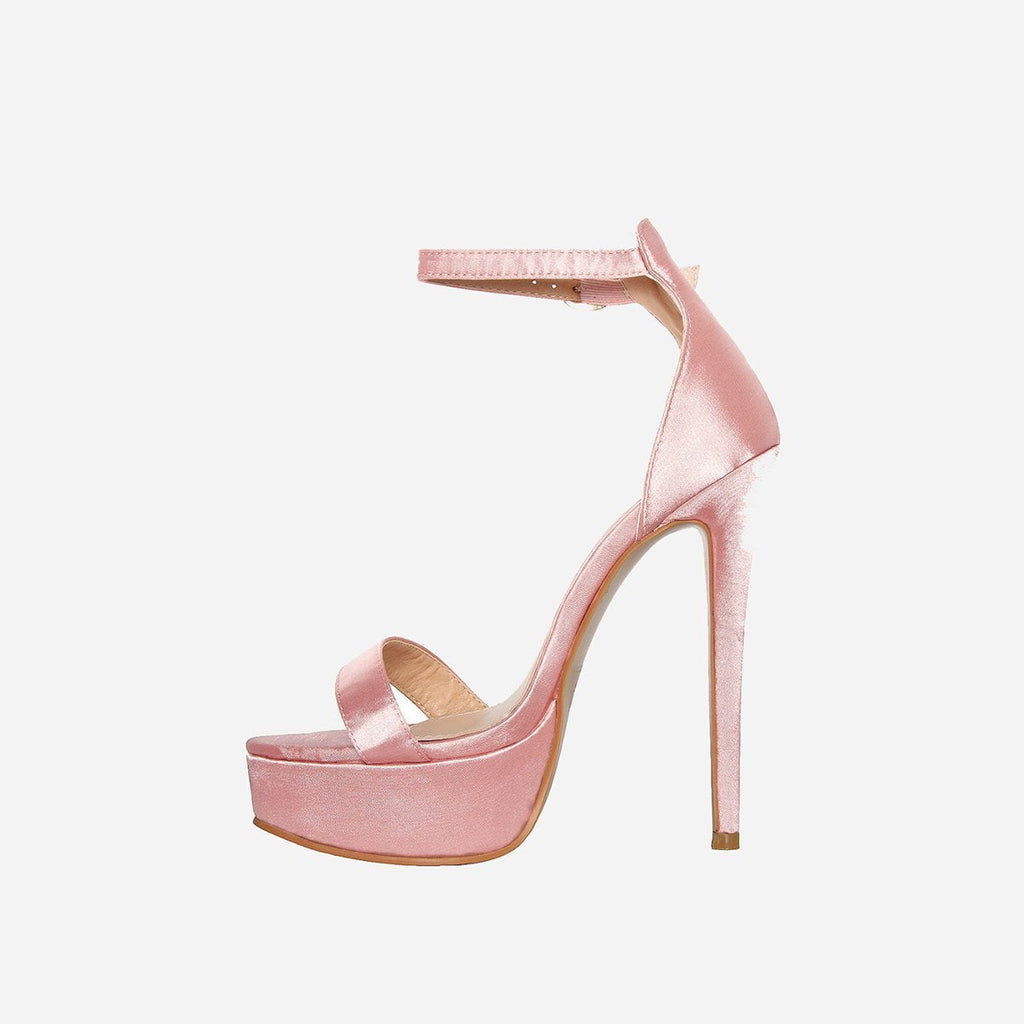 SANTORINI SATIN BLUSH PINK PLATFORM HEELS - Abuze shoes