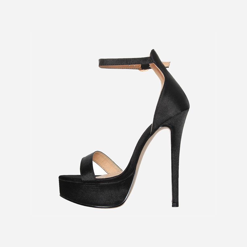 SANTORINI SATIN BLACK PLATFORM HEELS - Abuze shoes