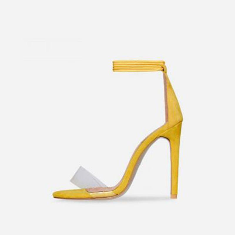 TERRI PEACH YELLOW LACE UP HEELS - Abuze shoes