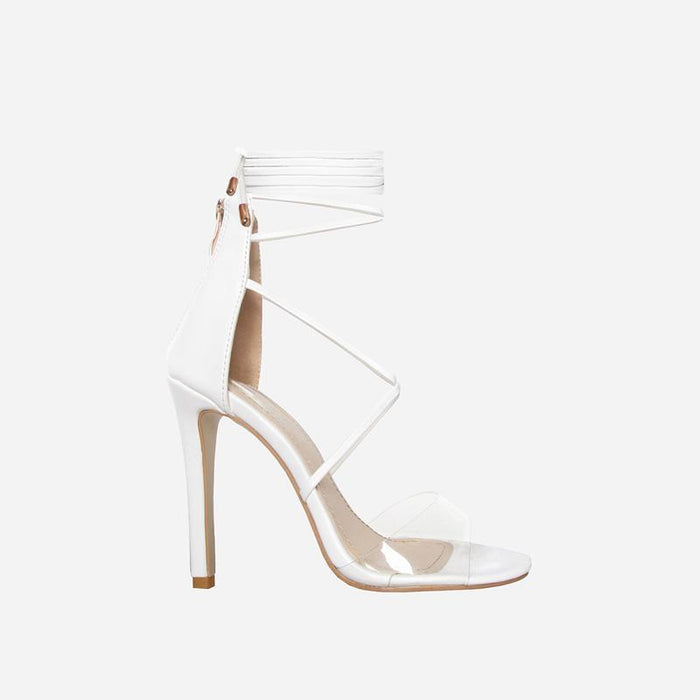 TIARA IVORY WHITE FAUX  LACE UP HEELS - Abuze shoes