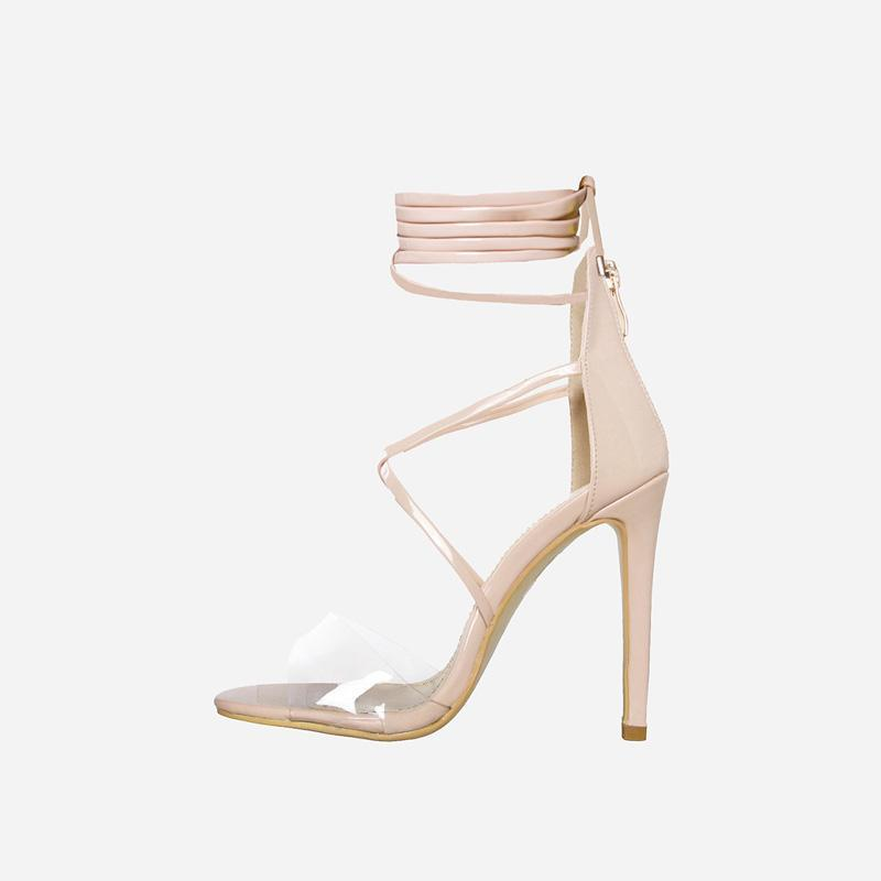 TIARA NUDE LACE UP HEELS - Abuze shoes