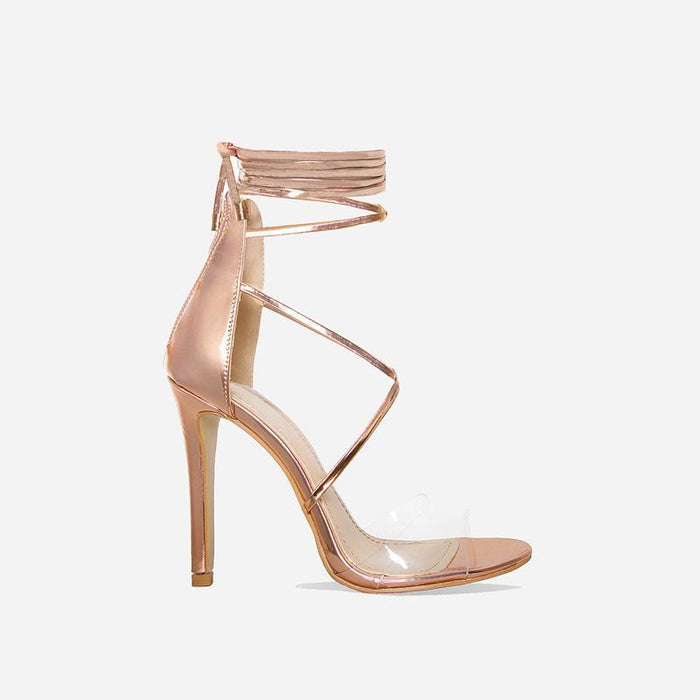 TIARA ROSE GOLD LACE UP HEELS - Abuze shoes