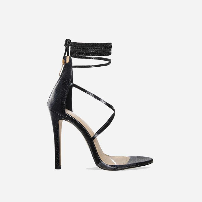 TIARA FAUX SNAKE BLACK LACE UP HEELS - Abuze shoes