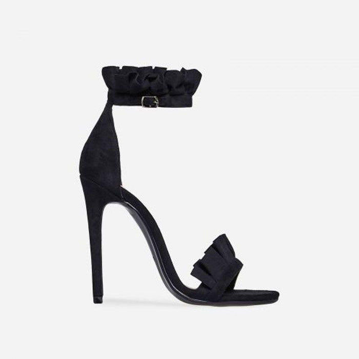 VENICÉ EBONY BLACK FRILL HEELS - Abuze shoes