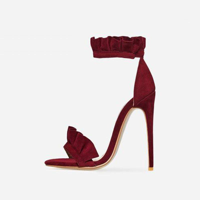 VENICÉ BURGUNDY FRILL HEELS - Abuze shoes