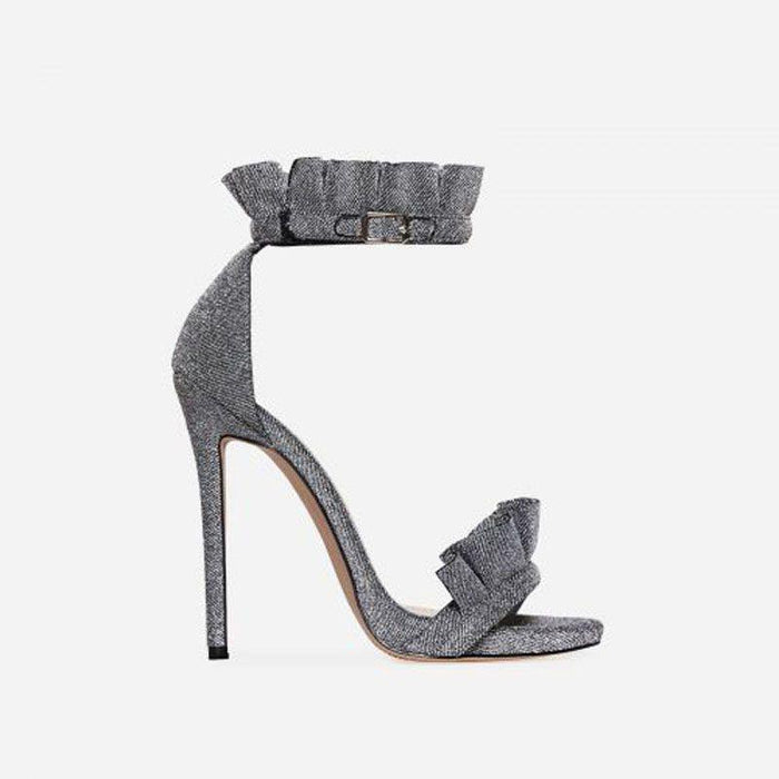 VENICÉ GLIMMER GREY FRILL HEELS - Abuze shoes