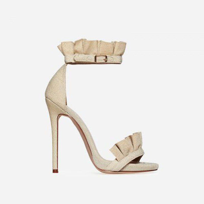 VENICÉ GLIMMER NUDE FRILL HEELS - Abuze shoes