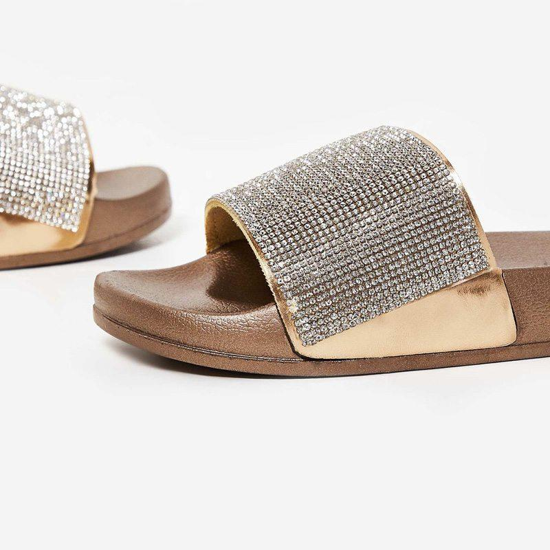 POMMÉ ROSE GOLD DIAMONTE SLIDES - Abuze shoes