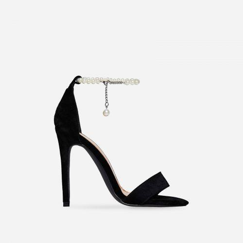 ARMINA PANTHER BLACK PEARL SUEDE HEELS - Abuze shoes
