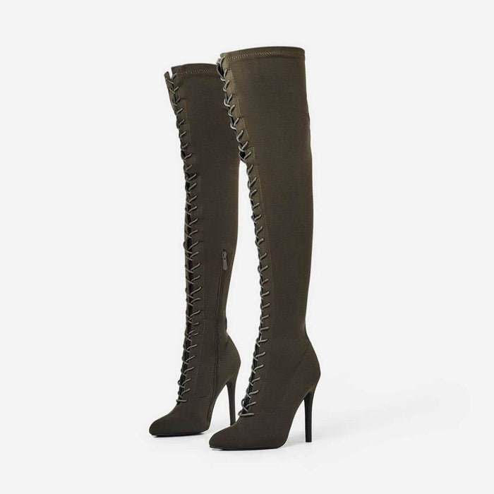 RIHANNA KHAKI SUEDE LACE UP THIGH HIGH BOOTS - Abuze shoes