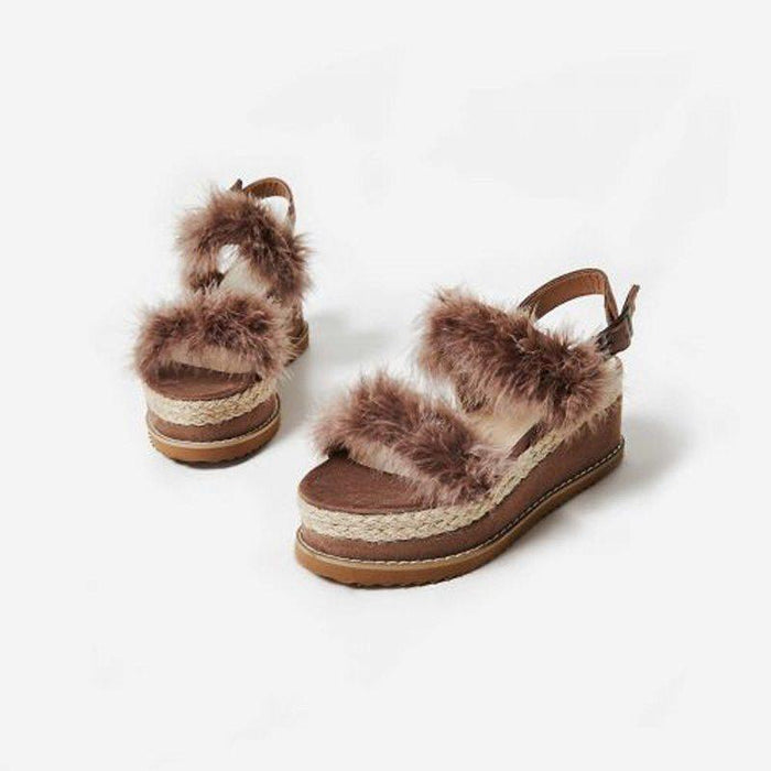 FLORIÉ CHOCO BROWN FUR FLATFORMS - Abuze shoes
