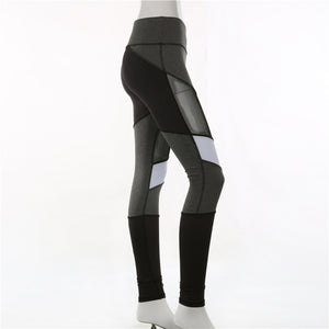 Workout Leggings Mesh Slim Stripe Mid Waist
