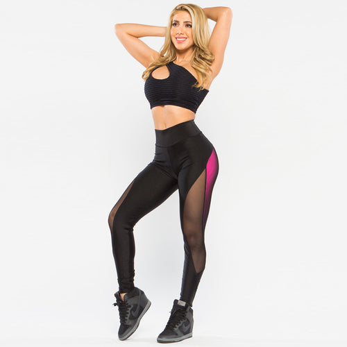 New Style Leggings High Waist Elastic Mesh Push-up