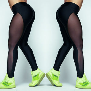 Black Side Mesh Fitness Leggings