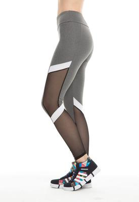 Mesh White Stripe Pencil Workout Leggings