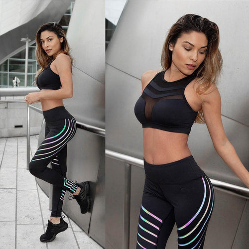 Mid Waist Striped Reflective Leggings