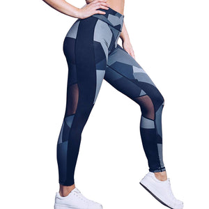 High Waist Geometric Workout Mesh Leggings