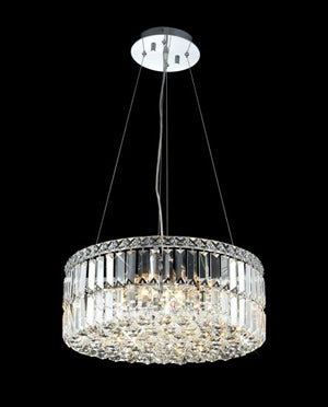 "Crystal Chandelier Cylinder 18""D X 12""H ideal to complement any entry - Torino Lighting Design"