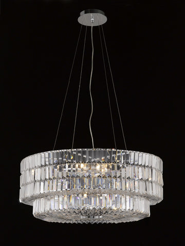 "Crystal Chandelier Cylinder 26""D X 13""H Chrome Ideal to complement any entry - Torino Lighting Design"