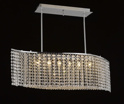 "Crystal Chandelier, Swerve Flush Mount 33""L X 8""W Chrome - Torino Lighting Design"