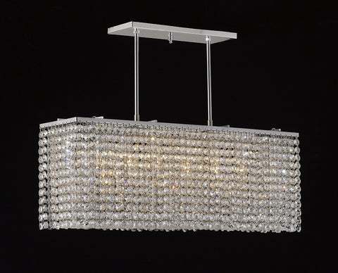 "Crystal Chandelier Rectangular shaped 30""L X 6""W X 8""H CHROME - Torino Lighting Design"