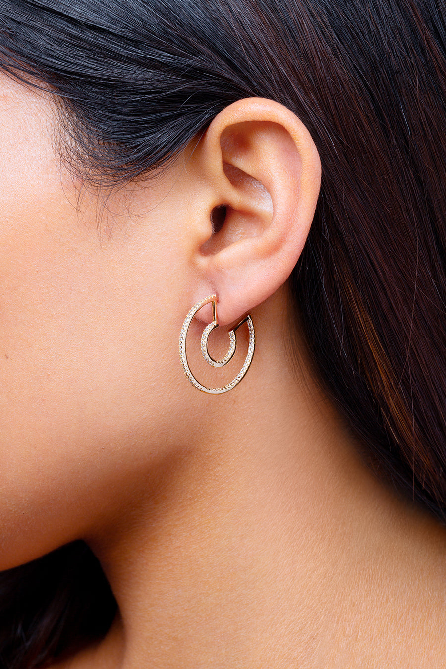 Double Pave Hoop Earrings