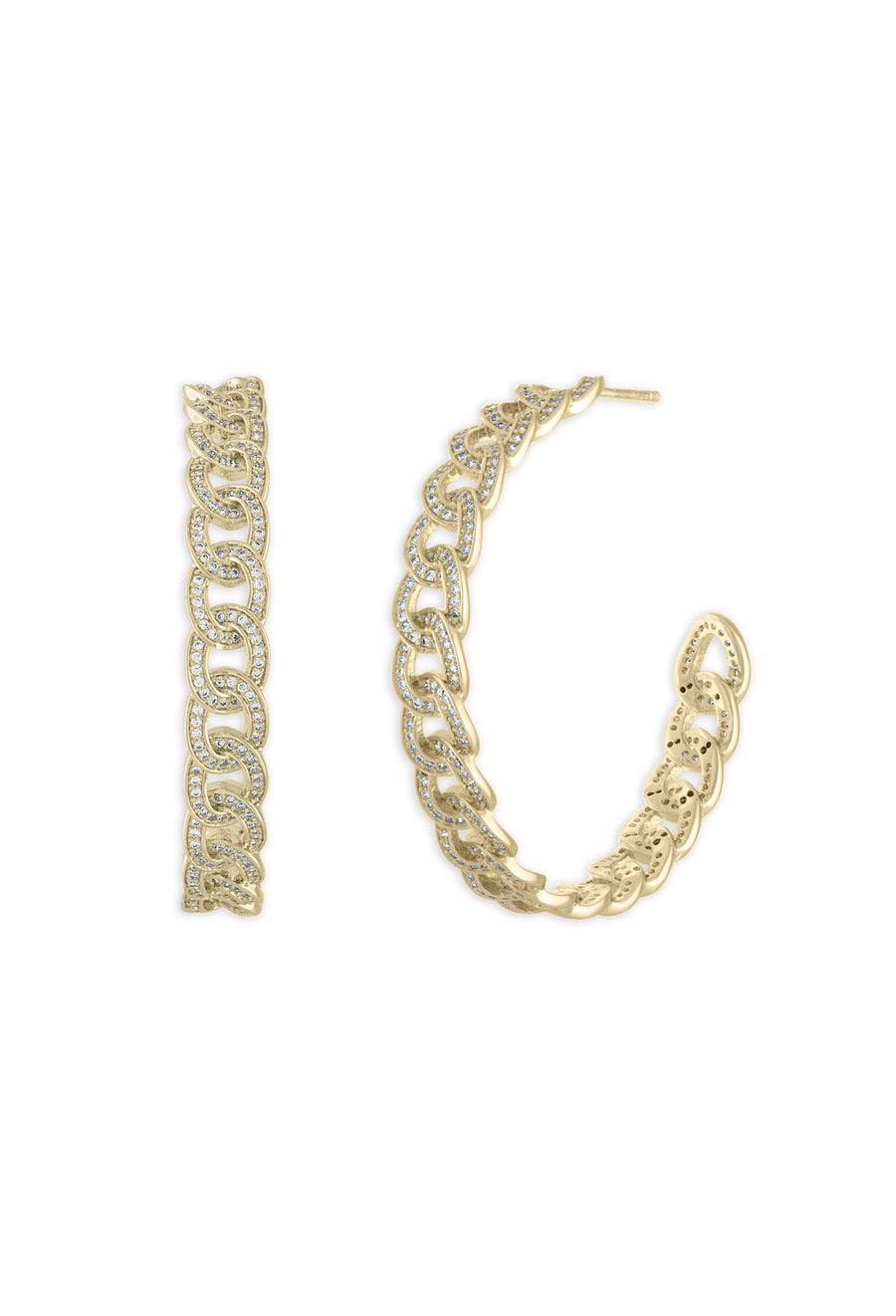 Cuban Chain Hoop Earrings