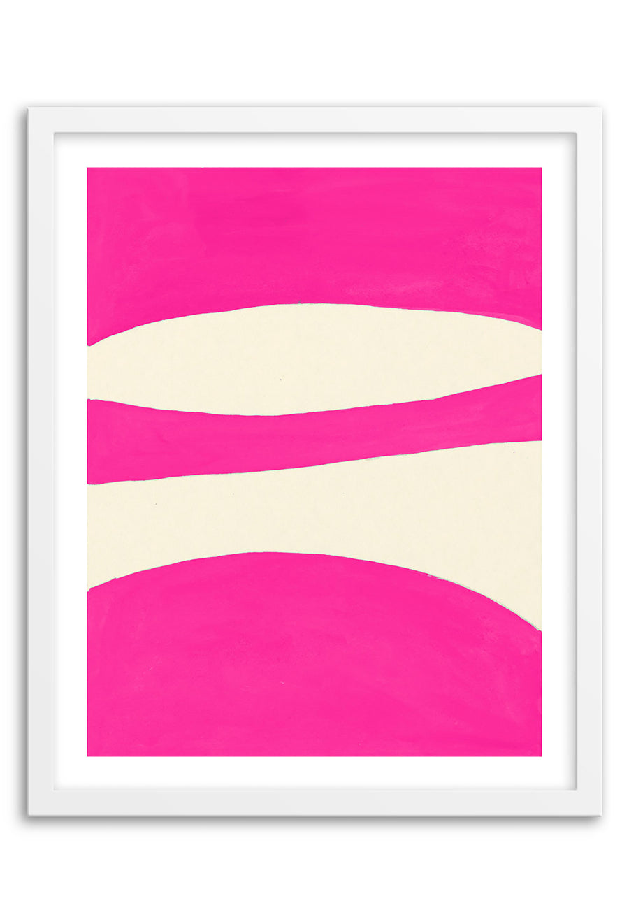 Waterfall Hot Pink Abstraction Framed Print