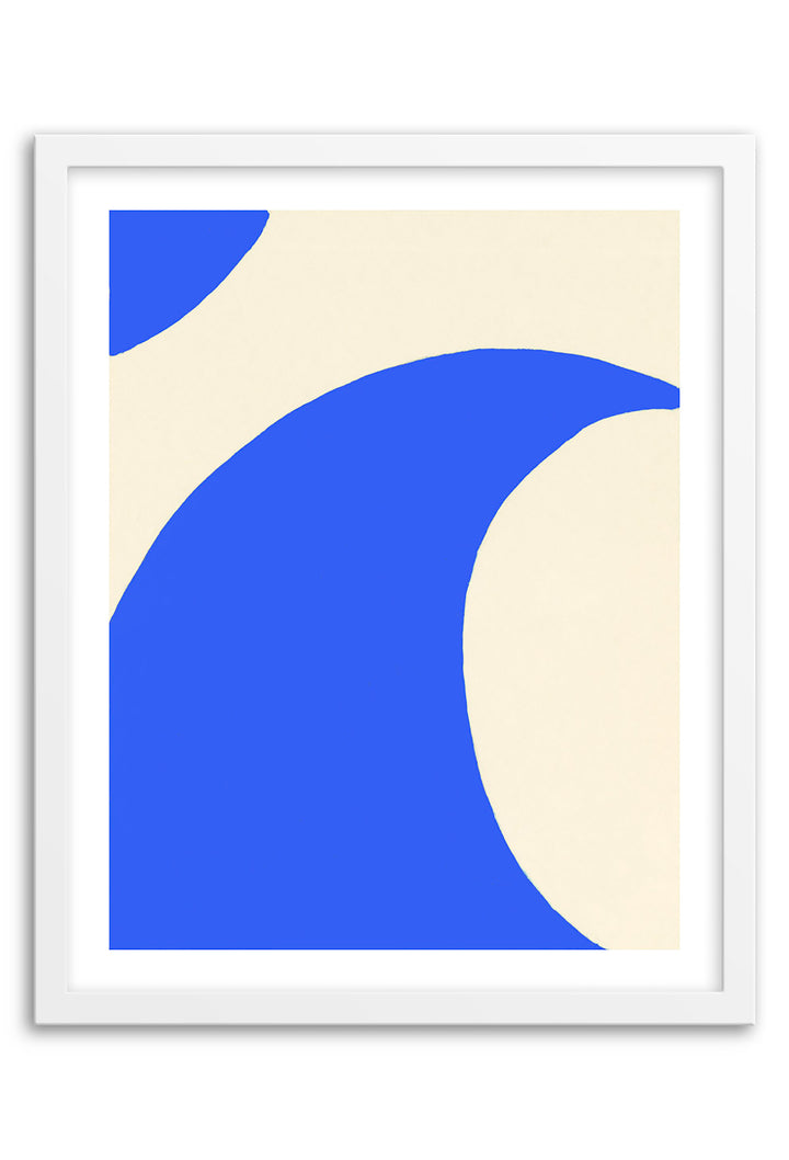 Wave Electric Blue Abstraction Framed Print
