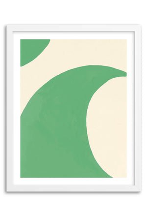 Wave Green Abstraction Art Print