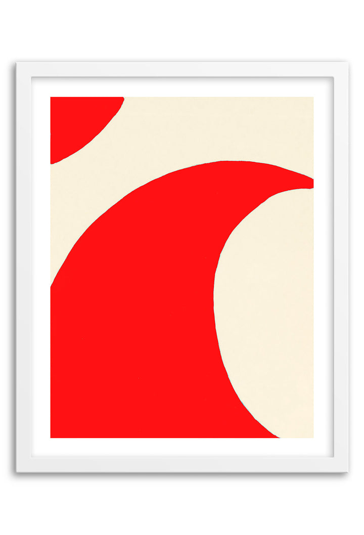 Wave Red Abstraction Framed Print