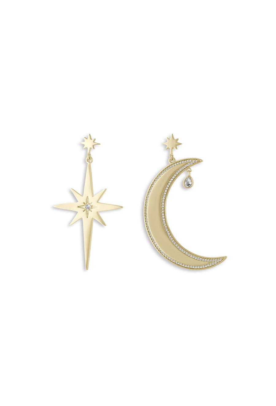 Moon and Star Large Earrings