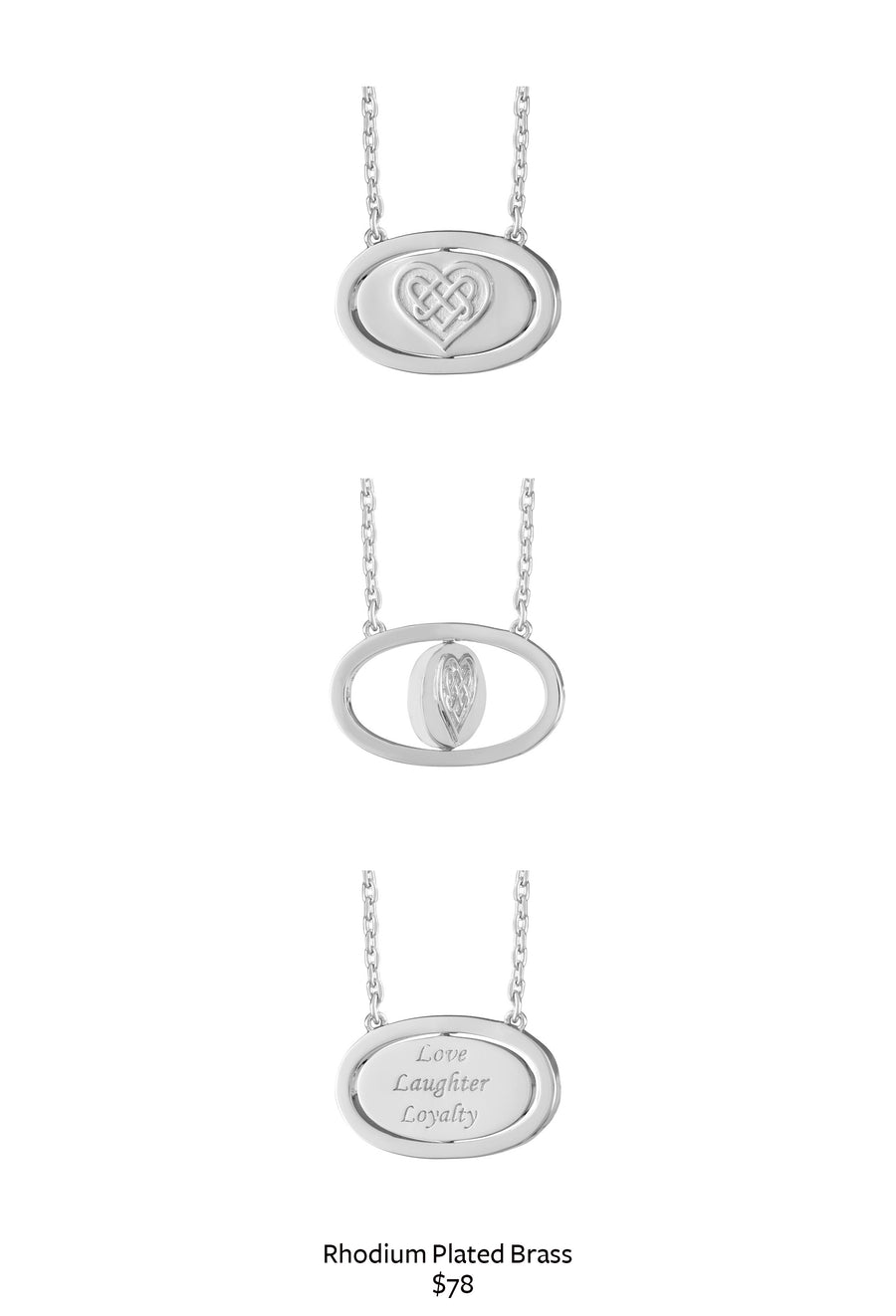 Love Laughter Loyalty Flip Necklace