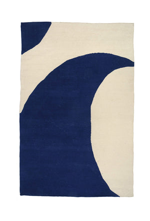 Wave Navy Abstraction Rug