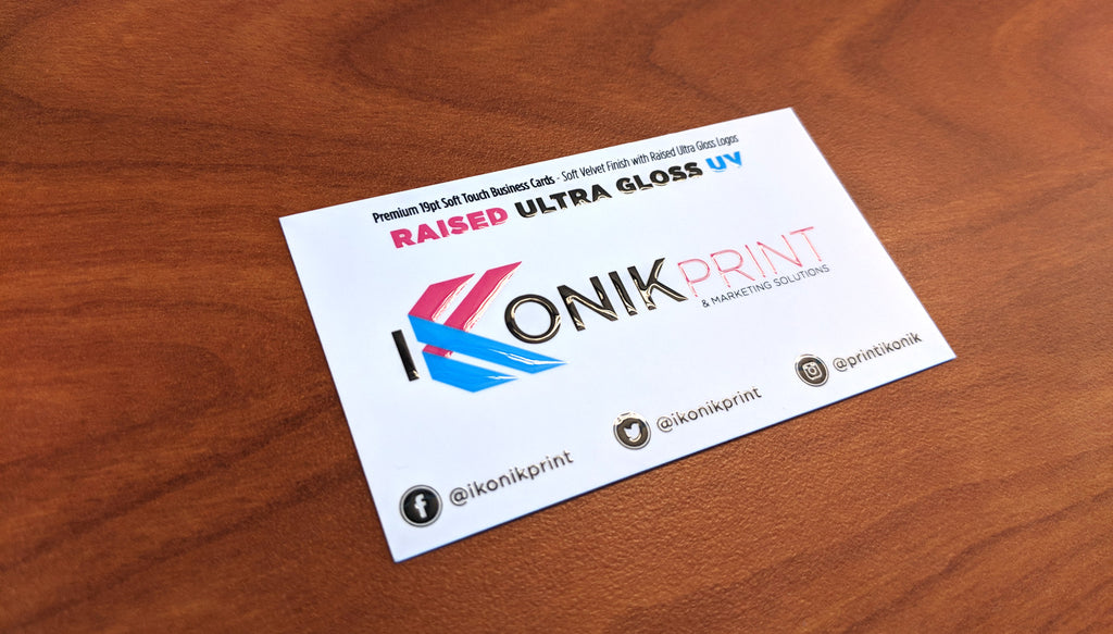 SOFT TOUCH LAMINATED 19PT BUSINESS CARDS WITH RAISED SPOT GLOSS