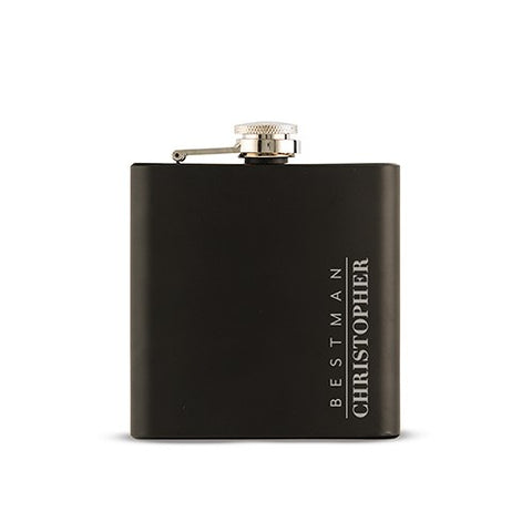 Personalized Best Man Black Hip Flask