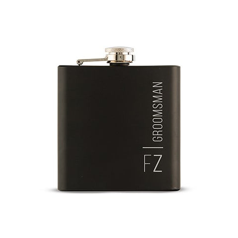Personalized Groomsman Black Hip Flask